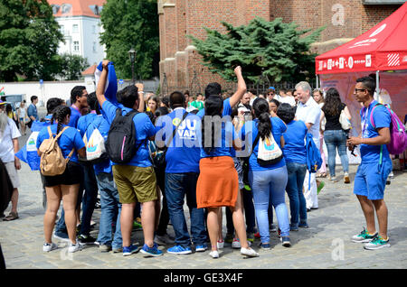 Wroclaw, Poland. 23rd July, 2016. Unidentified group of pilgrims join Days In Dioceses to prepare just before The - Stock Photo