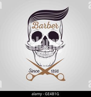 retro barber shop logo, Skull logo - Stock Photo