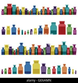 Vintage old glass jars, bottles and medicine chemistry potions colorful glassware - Stock Photo