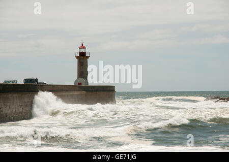 Lady of Light Lighthouse - Porto - Portugal - Stock Photo
