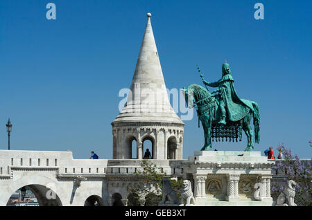 Budapest: Fisherman's Bastion and equestrian statue of St . Stephan, Hungary, Budapest, - Stock Photo