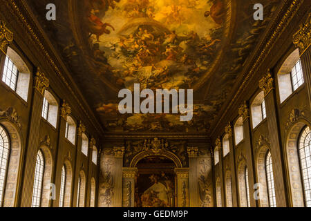 The Painted Hall, Old Royal Naval College, College Way, Greenwich, London, England, United Kingdom - Stock Photo