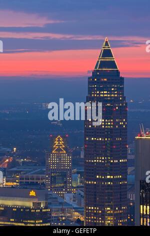 geography / travel, Germany, Hesse, Frankfurt am Main, Sunset over the Messeturm skyscraper and the City of Frankfurt - Stock Photo
