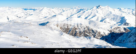 panoramic view of snowy peaks and Mont Blanc in the French Alps - Stock Photo
