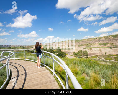 A view of the badlands landscape in Midland Provincial Park and Red Deer River Valley in Drumheller, Alberta, Canada. - Stock Photo