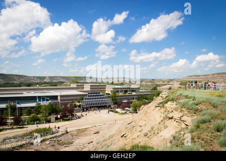 Exterior of the the Royal Tyrrell Museum of Palaeontology and surrounding badlands landscape in Drumheller, Alberta, - Stock Photo