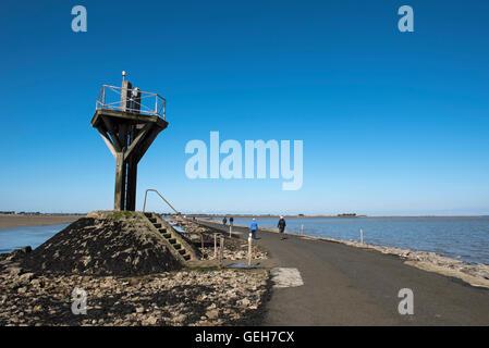 Passage du Gois causeway from mainland to Ile de Noirmoutier, Vendée, France - Stock Photo