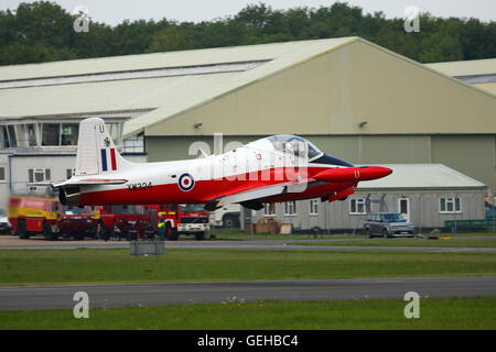 BAC Jet Provost T5A flying low over Dunsfold Aerodrome in Surrey - Stock Photo