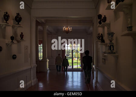 View to the gardens from inside the galleries at the Huntington Library - Stock Photo