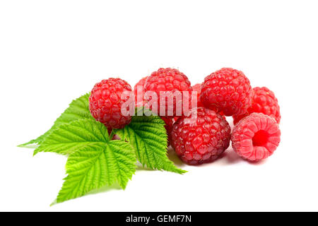 Ripe raspberry with leaf on white background - Stock Photo