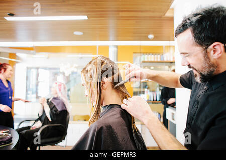 A hair stylist with a client, combing her long hair in sections. - Stock Photo