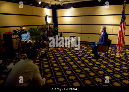 Secretary Kerry Tapes a Series of Sunday Television Talk Show Appearances - Stock Photo