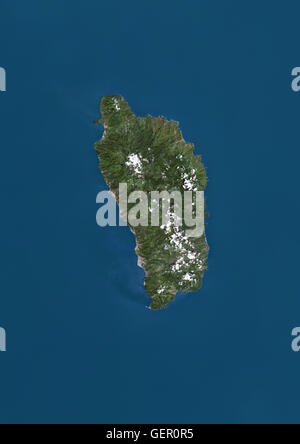 Satellite view of Dominica in the Lesser Antilles archipelago. This image was compiled from data acquired by Landsat - Stock Photo