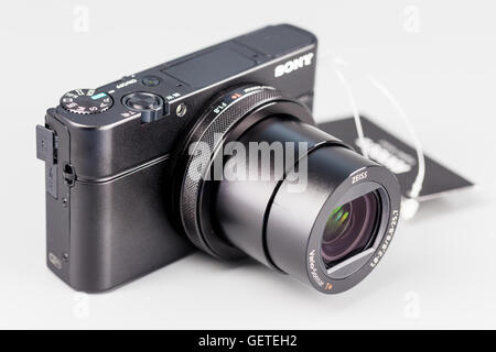 Berlin, Germany - July 20, 2015 : studio shot of 4k hi-speed camera Sony DSC-RX100 IV. - Stock Photo