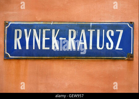 Street sign of Rynek Ratusz on Market Square in the Old Town of Wroclaw - Poland. - Stock Photo