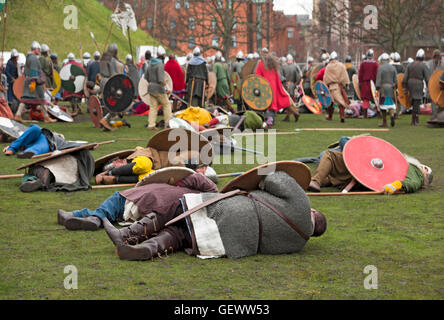 Skirmish between Vikings and Anglo Saxons at the Viking Festival. - Stock Photo