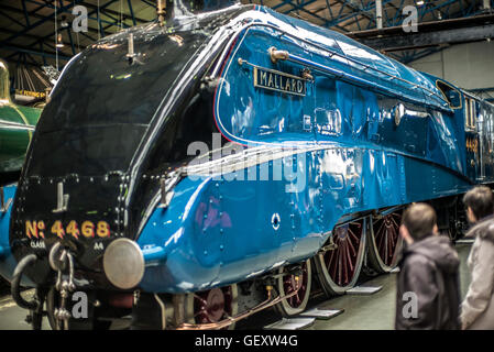 The Mallard steam locomotive on display at the National Railway Museum in York. - Stock Photo
