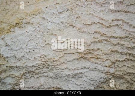 Mammoth Hot Springs Yellowstone National Park Montana mineral grey runoff from hot spring - Stock Photo