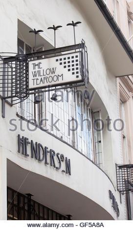 Willow Tearoom designed by celebrated Glasgow architect, Charles Rennie Mackintosh, on Sauchiehall Street in the - Stock Photo