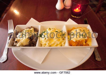 Haggis, Neeps and Tatties served in a traditional pub, East Ayrshire, Scotland. - Stock Photo