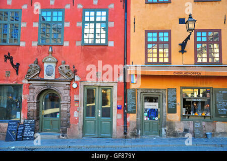 STOCKHOLM, SWEDEN - MARCH 16: View of colorful houses on central square of Stockholm on March 16, 2013. - Stock Photo