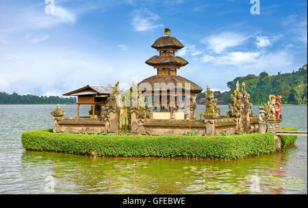 Pura Ulun Danu Temple on the Bratan Lake, Bali, Indonesia - Stock Photo
