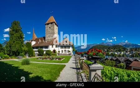 Spiez Castle, Lake Thun, Bernese Oberland, Bern, Switzerland, Europe - Stock Photo