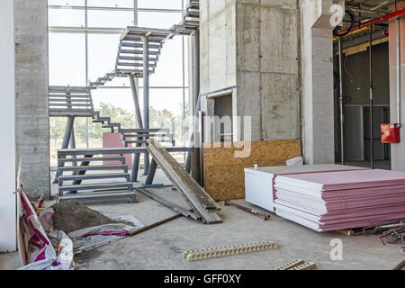 View on showroom is under construction, ready for next step. Architecture concept. - Stock Photo