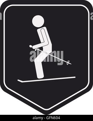 skiing pictogram icon shield emblem - Stock Photo