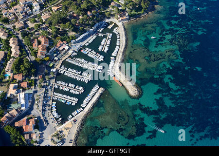 SMALL MARINA WITH COLORFUL SEABED (aerial view). La Madrague Marina, Saint-Cyr-sur-Mer, Var, Provence, France. - Stock Photo