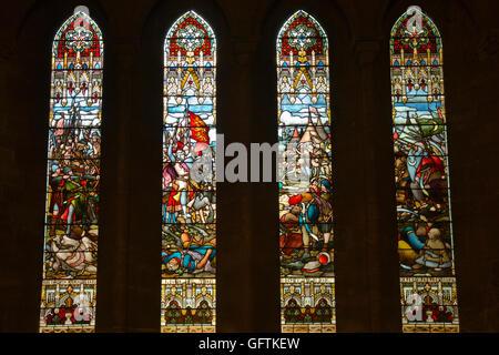 UK, England, Northamptonshire, Northampton, Church of Holy Sepulchre, Battle of Jaffa crusader stained glass windows - Stock Photo