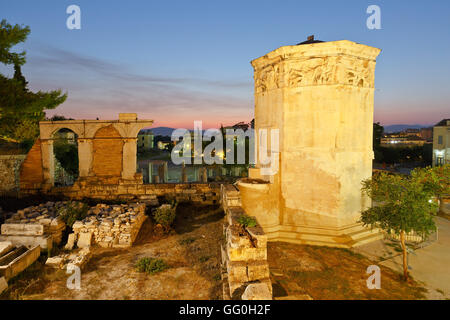 Remains of the Roman Agora and Tower of Winds in Athens, Greece. - Stock Photo