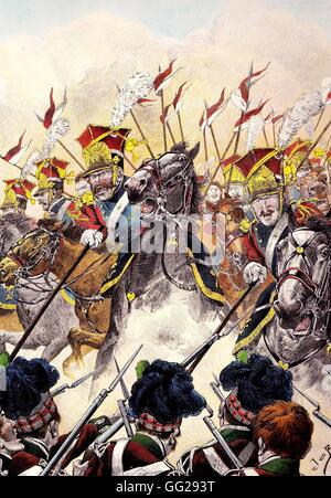 Attack of the 2nd regiment of light cavalry lancers of the Imperial Guard during the Battle of Waterloo on June - Stock Photo