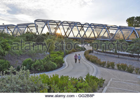 Modern Arganzuela footbridge designed by French architect Dominique Perault in Madrid Spain Europe - Stock Photo