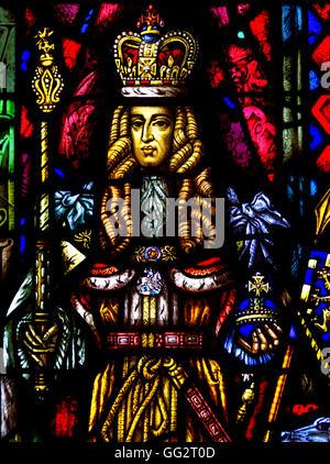 London, England, UK. Dutch Church, Austin Friars (Nederlandse Kerk Londen) Stained glass window: Max Nauta - 1954) - Stock Photo