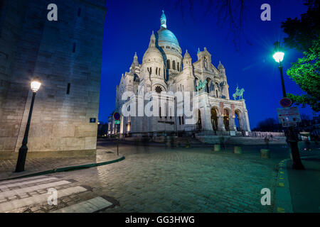 The Basilica of the Sacred Heart of Paris, commonly known as Sacré-Cœur Basilica and often simply Sacré-Cœur (Basilique - Stock Photo