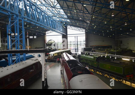 'The Mallard' and other steam engines, on display at the National Railway Musuem, in York, UK. - Stock Photo