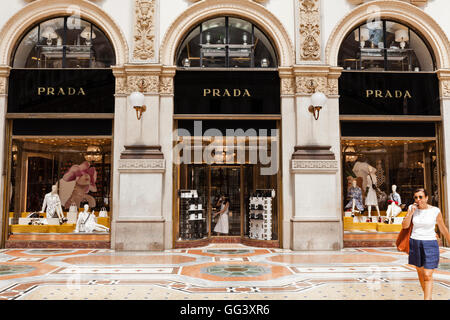 Prada Store Galleria Vittorio Emanuele II, Milan, Italy. Mario Prada opened his first shop here in 1913. - Stock Photo
