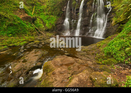 The Ess-Na-Crub waterfall in Glenariff Forest Park in Northern Ireland. - Stock Photo