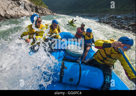 Rafting trip on the Trisuli River in Nepal, Asia - Stock Photo