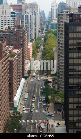 Aerial view of York Avenue in Manhattan, New York - Stock Photo