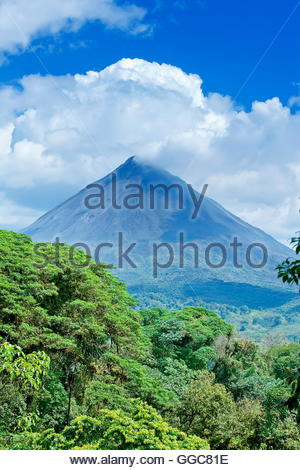 geography / travel, Costa Rica, Arenal volcano behind tropical forest, La Fortuna, Additional-Rights-Clearance-Info - Stock Photo