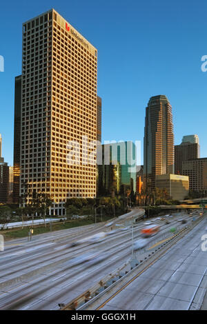geography / travel, USA, California, Los Angeles, downtown Los Angeles, harbour Freeway (I-110), Additional-Rights - Stock Photo