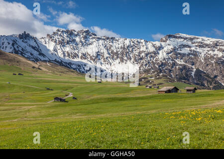geography / travel, Italy, South Tyrol, Alm and alpine hut on the Seiser mountain pasture, Additional-Rights-Clearance - Stock Photo