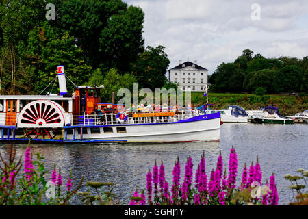 Excursion boat on river Thames in front of Marble Hill House, Richmond upon Thames, Surrey, England, United Kingdom - Stock Photo