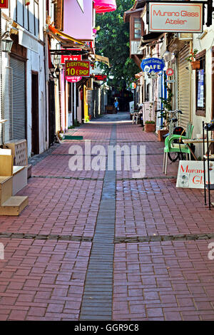 Shops and stalls in the side streets of Kusadasi Turkey - Stock Photo