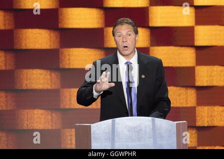 New York Governor Mario Cuomo speaks during the final day of the Democratic National Convention at the Wells Fargo - Stock Photo