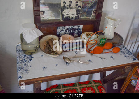 Russia, Ataman - 26 September 2015: Barber table. Image barber life in the early twentieth century. - Stock Photo
