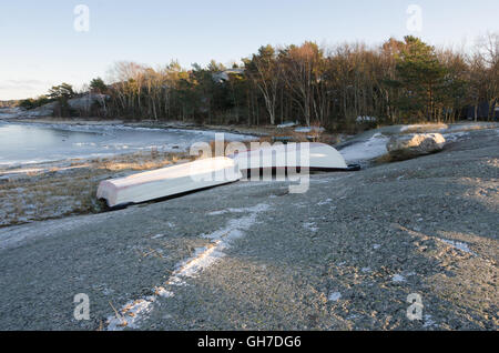 winter in sweden on the westcoast. And the boat is on land - Stock Photo