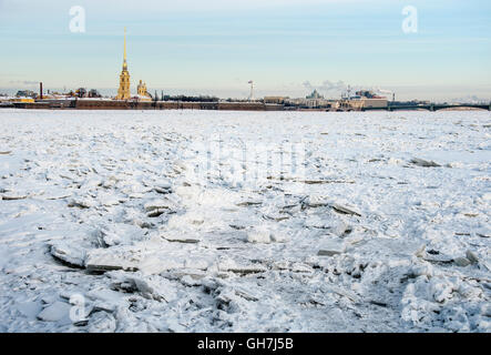 View from the Neva to the Peter and Paul fortress. - Stock Photo
